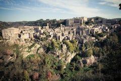 Old tuff town Sorano. Tuscany. Italy Royalty Free Stock Photography