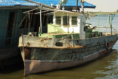Old tug. Old rusty tug on Volga river, near Astrakhan Royalty Free Stock Photography