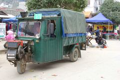 Old tuk tuk is a means of transport,Guilin, China Stock Photos