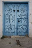 Old Tunisian Door with a cat. Old Tunisian Door in Sidi Bou Said, Tunisia Royalty Free Stock Photos