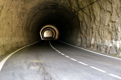 Tunnel of a mountain road Royalty Free Stock Image