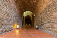 Old tunnel in temple. Old tunnel in Wat Umong temple royalty free stock images