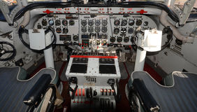 Old turboprop airplane cockpit Stock Photography