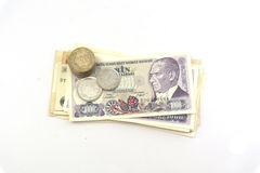 Old turkish banknotes and coins Stock Photos