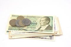 Old turkish banknotes and coins Royalty Free Stock Photos