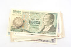 Old turkish banknotes and coins Stock Image