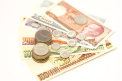 Old turkish banknotes and coins Stock Photography