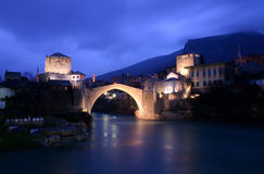 The old Turkish bridge of Mostar by night, Bosnia. The old Turskish / Ottoman bridge in Mostar, Bosnia Royalty Free Stock Photos