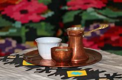 Old Turkish coffee with a Turkish delight stock photo