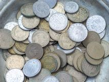 Old turkish coins in the metal plate.  stock photo