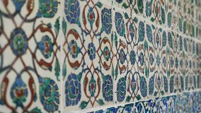 Old turkish colored ceramic close up. Colored turkish ceramic wall with many details close up recording stock video