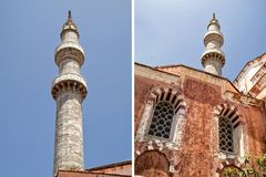 Collage of two photos of Turkish mosque Royalty Free Stock Images