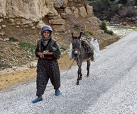 Old Turkish women walking on the road. Stock Image