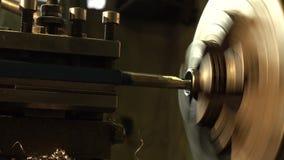 Old turning lathe machine in turning workshop. Close Up. Old turning lathe machine in turning workshop stock footage