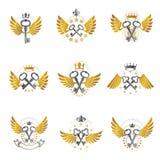 Old Turnkey Keys emblems set. Heraldic vector design elements co Royalty Free Stock Photography