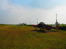 An old turprop aircraft is parking in the field. An old turprop one engine plane is parking at the field near the runway. Ready for the trainee to be learnt Stock Images