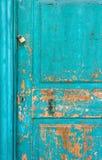 Old Turquoise Wooden Door Stock Photo