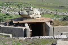 Old turret on the fortifications in the Golan Heights on the bor Stock Image