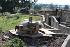 Old turret on the fortifications in the Golan Heights on the bor Royalty Free Stock Image
