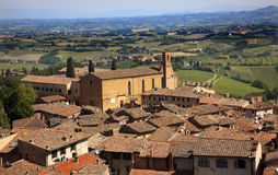 Old Tuscan Town Church San Gimignano Tuscany Italy Royalty Free Stock Photography