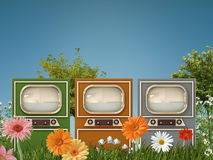 Old tv. Old televisions in a green garden Stock Photo