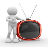 Old tv. 3d people - human character, person  and a old tv. 3d render Royalty Free Stock Photography