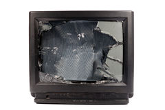 Old TV. With broken screen Royalty Free Stock Image