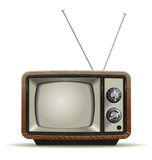 Old TV. Illustration of the good old retro TV without remote control Stock Photo