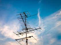Old TV Antenna on the roof Stock Photography
