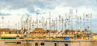 Old tv antennas Stock Photos