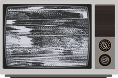 Old TV with bad signal. Stock Photos