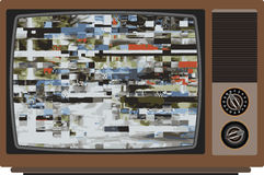 Old TV with bad signal. Royalty Free Stock Photo