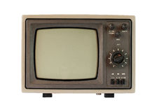 An old tv with black and white screen. Stock Photography