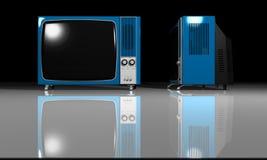 Old TV - blue Television stock illustration