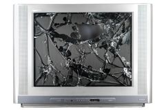 Old TV with broken screen. Isolated in studio stock photos