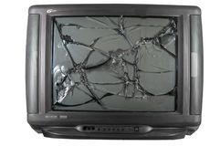 Old TV with broken screen. Isolated in studio royalty free stock image