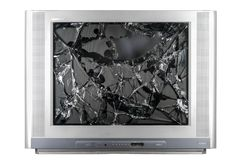 Old TV with broken screen. Isolated in studio royalty free stock photos