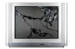 Old TV with broken screen. Isolated in studio stock photo