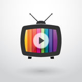Old tv with colored stripes Stock Photos