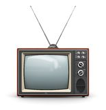 Old TV. Creative abstract communication media and television business concept: old retro color wooden home TV receiver set with antenna isolated on white Royalty Free Stock Photography