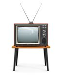 Old TV. Creative abstract communication media and television business concept: old retro color wooden home TV receiver set with antenna on wood table isolated on Royalty Free Stock Photography
