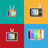 Old tv evolution colorful set Royalty Free Stock Photo