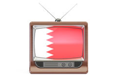Old tv with flag of Bahrain. Television concept, 3D rendering Stock Photos
