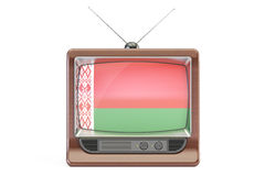 Old tv with flag of Belarus. Belarusian Television concept Royalty Free Stock Photos