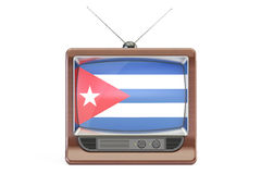 Old tv with flag of Cuba. Cuban Television concept, 3D rendering Stock Photography