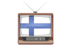 Old tv with flag of Finland. Finnish Television concept, 3D rend Stock Photography