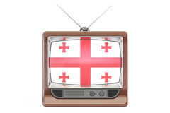 Old tv with flag of Georgia. Georgian Television concept, 3D ren Royalty Free Stock Image
