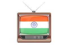 Old tv with flag of India. Indian Television concept, 3D renderi Royalty Free Stock Image