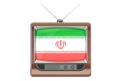 Old tv with flag of Iran. Iranian Television concept, 3D renderi Royalty Free Stock Photos