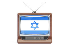 Old tv with flag of Israel. Israeli Television concept, 3D rende Stock Photo